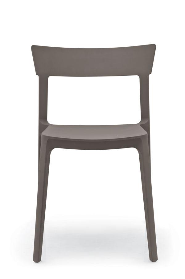 Chaise Skin monocoque et empilable marron