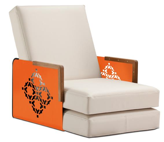 fauteuil Kube Orient (orange pur-vinyle blanc-teck) EGO Paris